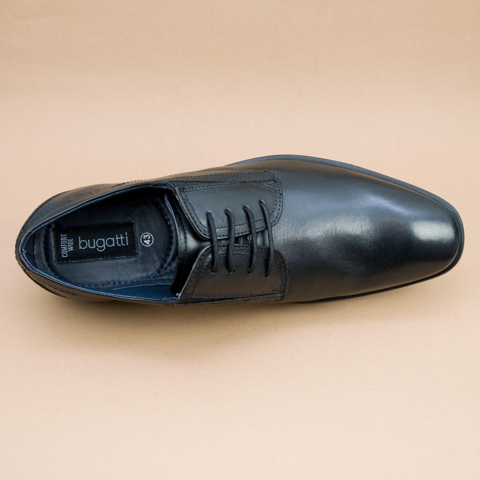 Details zu Bugatti Herrenschuhe Leder Schnürer Halbschuhe Schwarz R3505 1 100 Comfort Wide